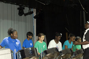 Playing in my school Steel Band - island style!