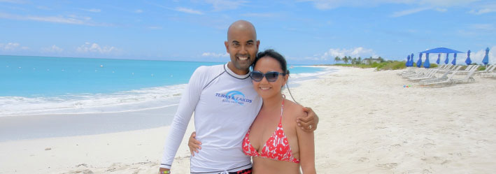 Hanging out on Grace Bay beach with New York Travel Blogger Eva Shi of the popular blog Rock Shic